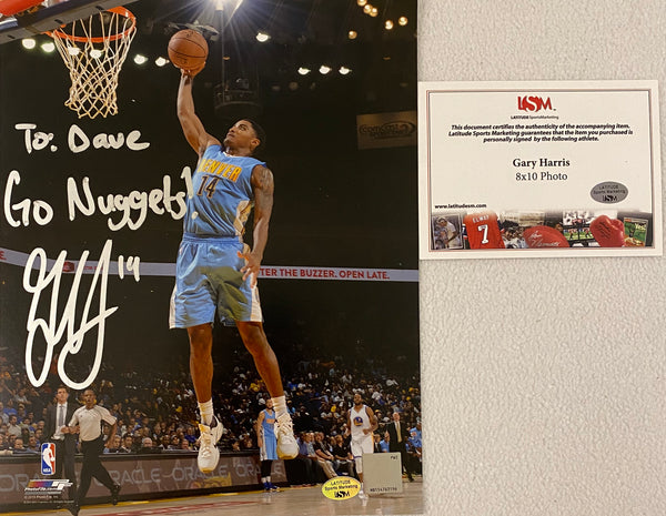 "Gary Harris Autographed Denver Nuggets 8x10 Photo Inscribed "" To Dave Go Nuggets."" - Latitude Sports Marketing"