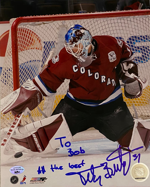 "Peter Budaj Autographed Colorado Avs 8x10 Photo w/ COA & Hologram Inscribed ""To Bob All the Best."""