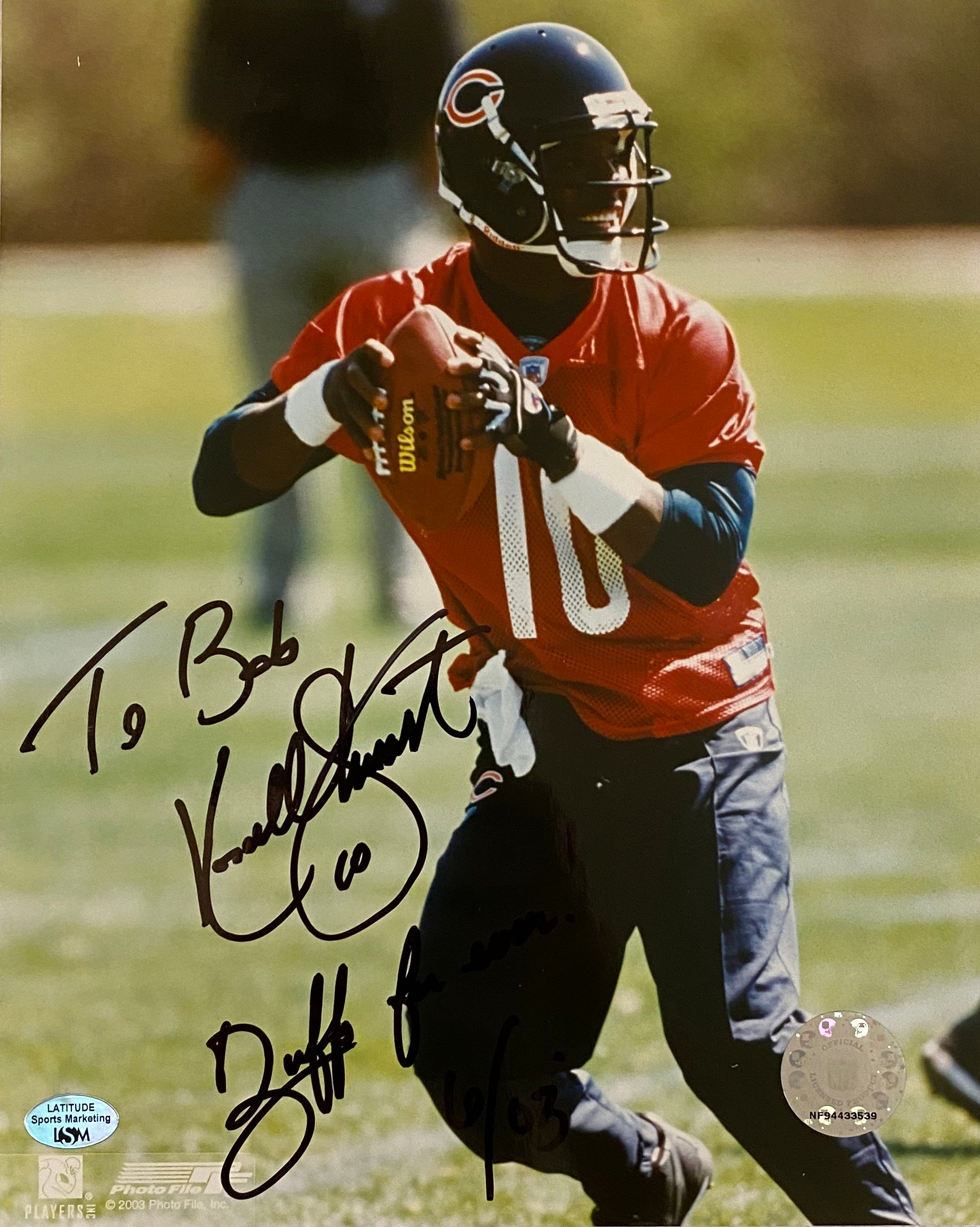 "Kordell Stewart Autographed Chicago Bears 8x10 Photo w/ COA & Hologram Inscribed ""To Bob"" ""Buffs Forever!"" - Latitude Sports Marketing"
