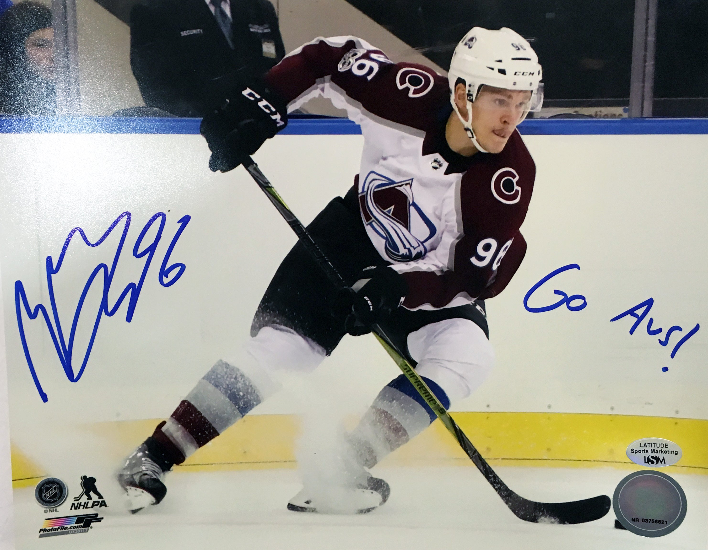 8b013cbff Mikko Rantanen Signed 8x10 Photo with Inscription (White Uniform Skating)