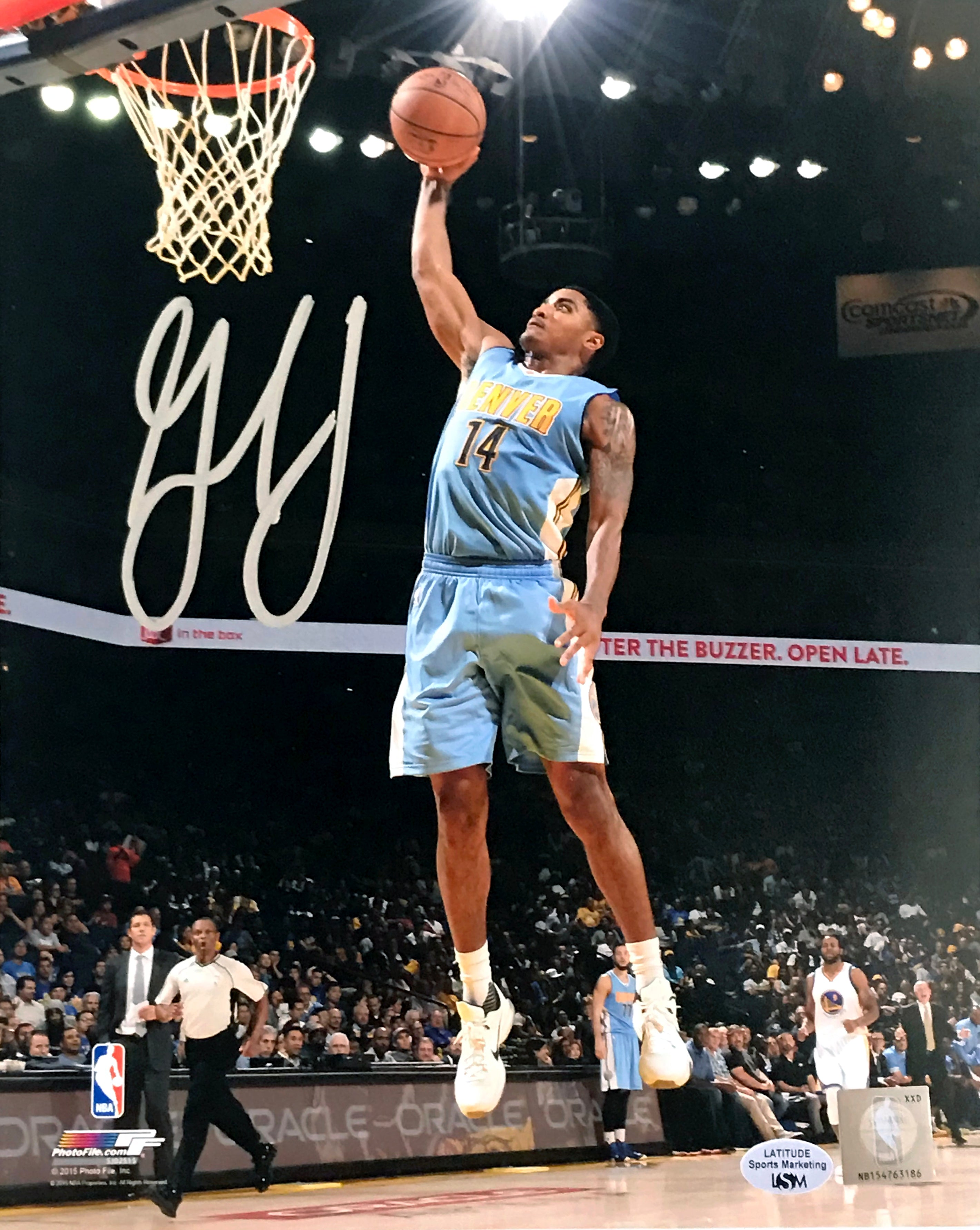 Gary Harris Autographed 8x10 Photo Blue Image of Him Dunking