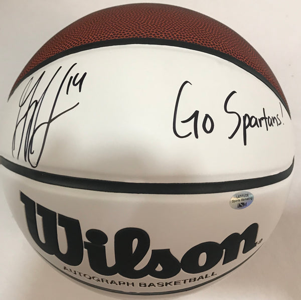 "Gary Harris Autographed NCAA Wilson White Panel Ball Inscribed ""Go Spartans!"" - Latitude Sports Marketing"