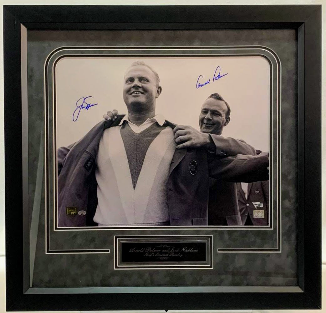 Jack Nicklaus & Arnold Palmer Signed 16x20 w/ Nameplate - Latitude Sports Marketing