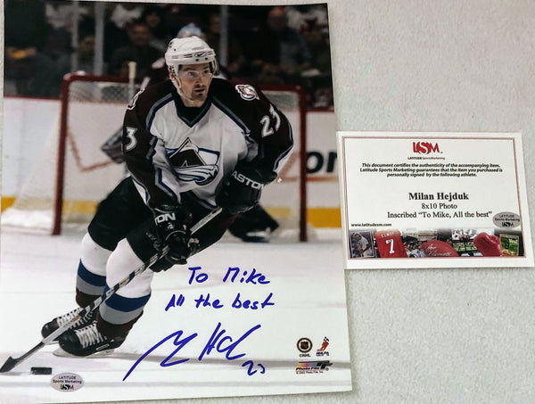 "Colorado Avalanche Former Star Milan Hejduk Autographed 8x10 Photo  with LSM COA. Inscribed ""To Mike All the best"" - Latitude Sports Marketing"