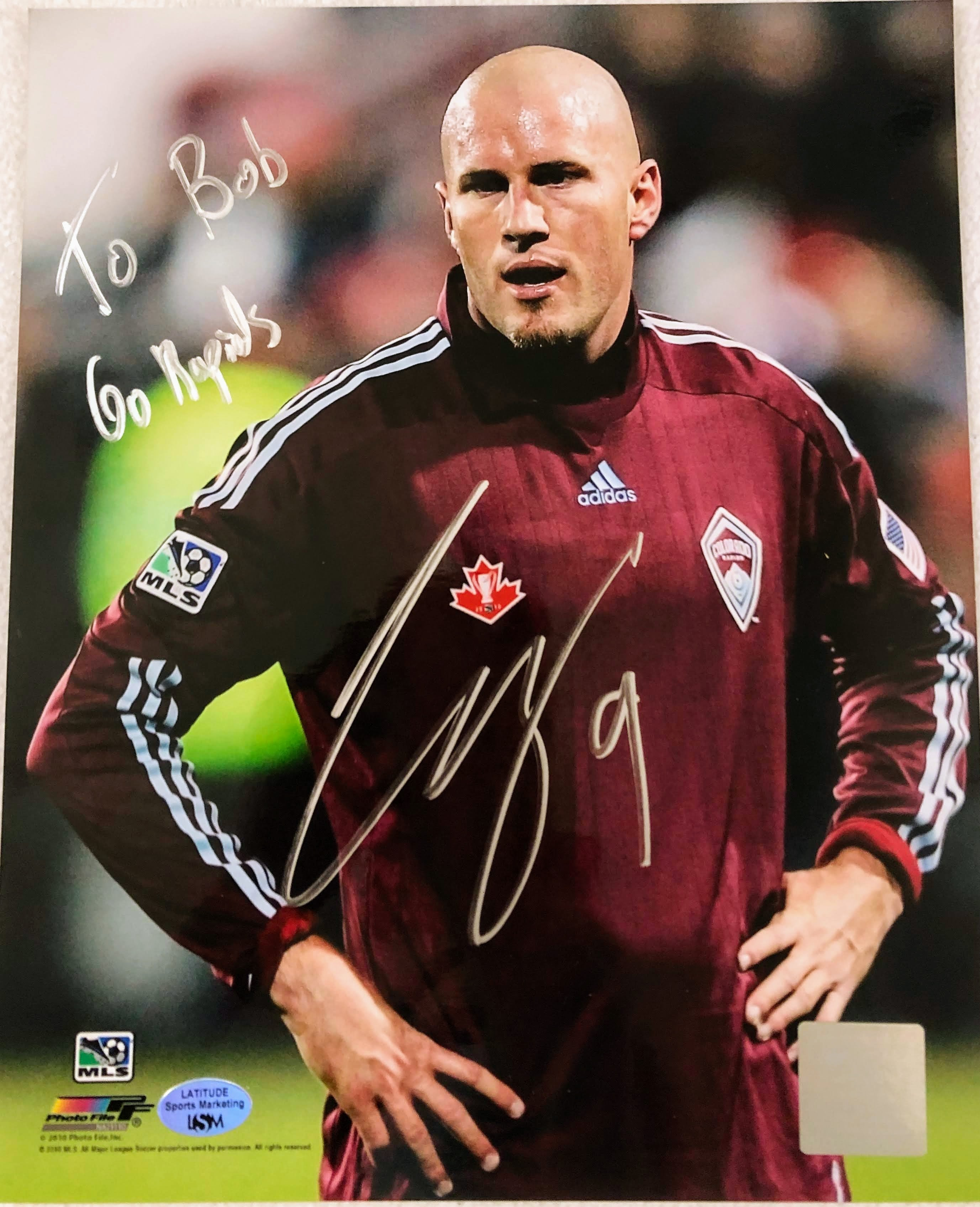 "Conor Casey Autographed 8x10 Photo Inscribed ""To Bob, Go Rapids"" with COA and Hologram - Latitude Sports Marketing"