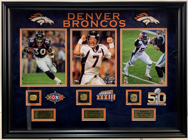 Denver Broncos Replica Super Bowl Rings Shadowbox Collage - Latitude Sports Marketing