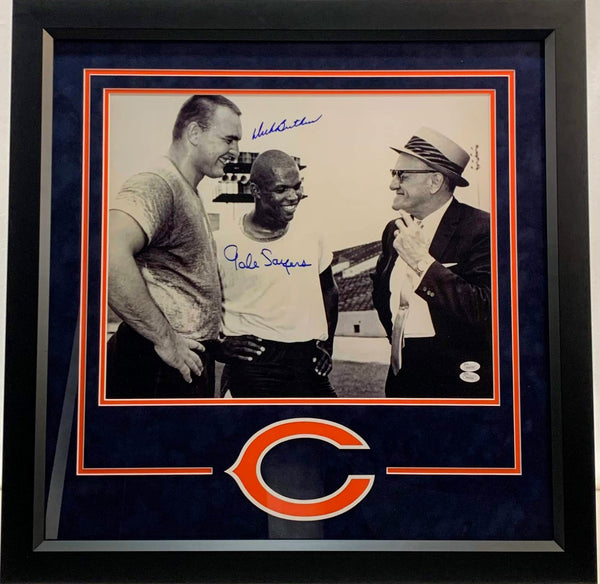 Dick Butkus & Gale Sayers Signed Deluxe 16x20 Photo - Latitude Sports Marketing