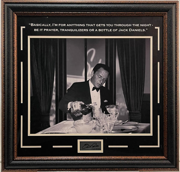 Frank Sinatra Framed 16x20 Photo with Jack Daniels Quote w/ Laser Signature