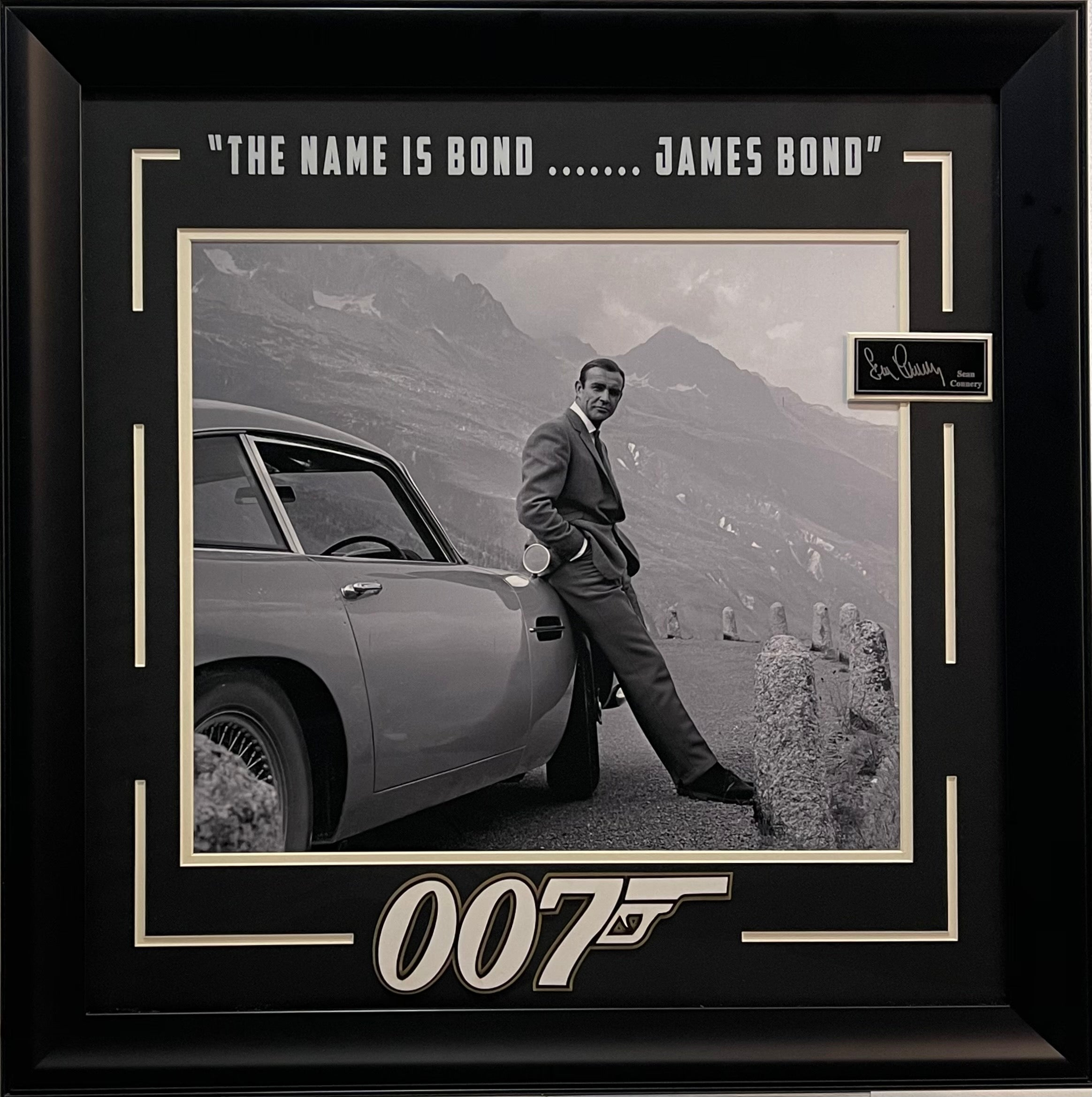 James Bond Framed Photo with Laser Engraved Signature Sean Connery and Quote