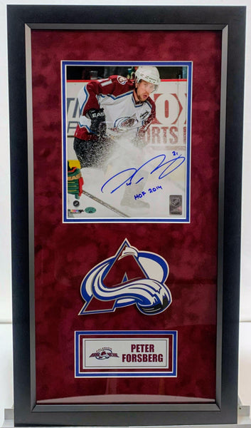 Peter Forsberg autographed Colorado Avalanche 8x10 Photo w/ HOF Inscription and Deluxe Frame LSM COA - Latitude Sports Marketing