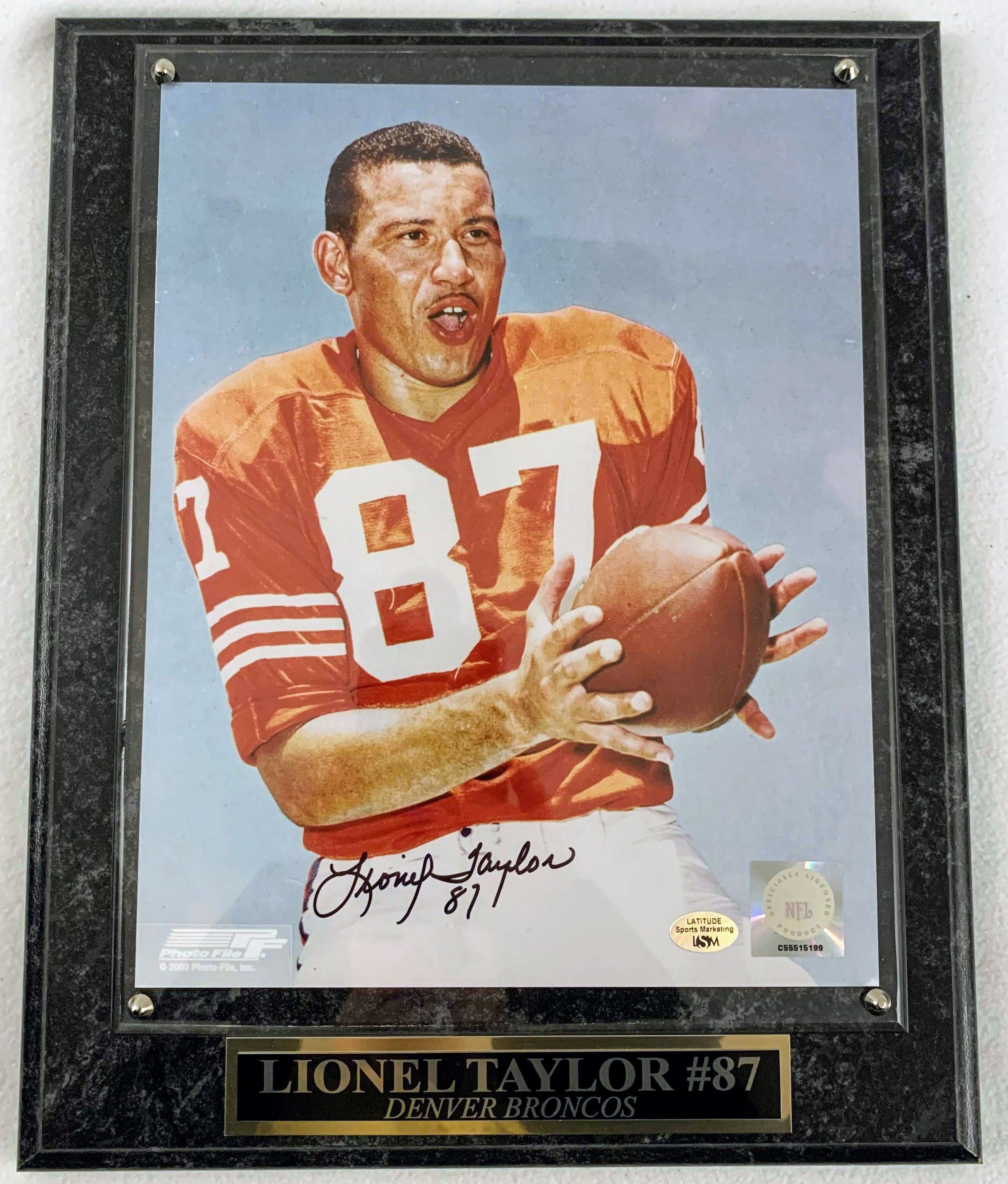 Lionel Taylor 8x10 Photo w/ Plaque - Latitude Sports Marketing
