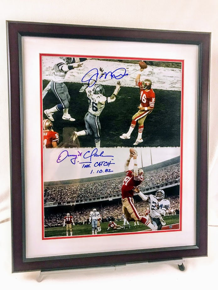 "Joe Montana and Dwight Clark Signed ""The Catch"" Framed 16x20"