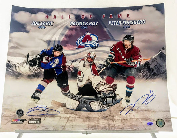 16x20 Hockey Hall of Fame Photo Dual-Signed (Sakic/Forsberg) Colorado Avalanche