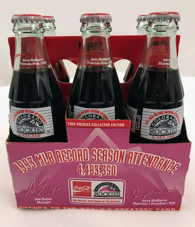 Colorado Rockies Inaugural Season Collector Coke Bottles Unopened 1993 - Latitude Sports Marketing