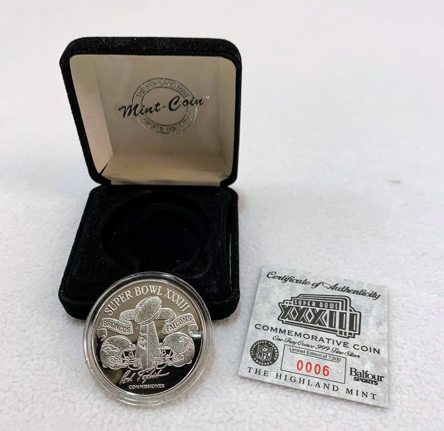 Super Bowl 33 Highland Mint Coin w/ Case with COA