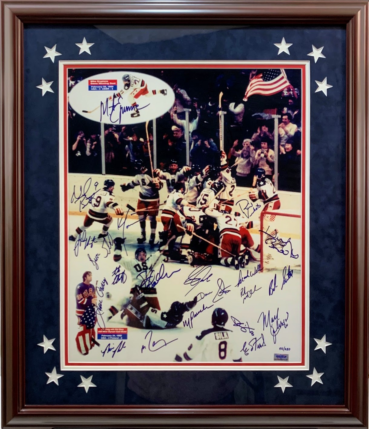 Miracle on Ice USA Team Signed 16x20 Photo w/ Herb Brooks - Grandstand Hologram LTD ED #154/980