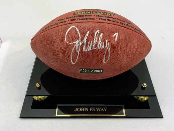 John Elway Autographed LTD ED (#1) NFL Hall of Fame Commemorative Football Mounted Memories COA