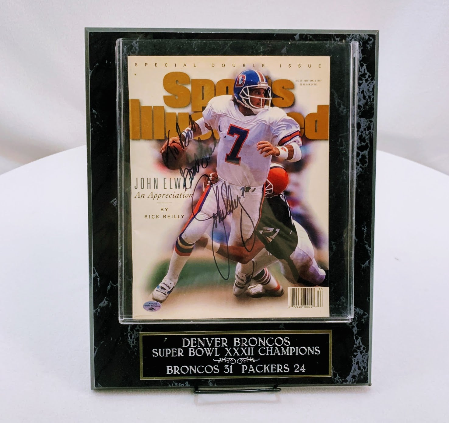 John Elway Signed Sports Illustrated Inscribed with 12x15 Plaque (Free Book Included) LSM COA