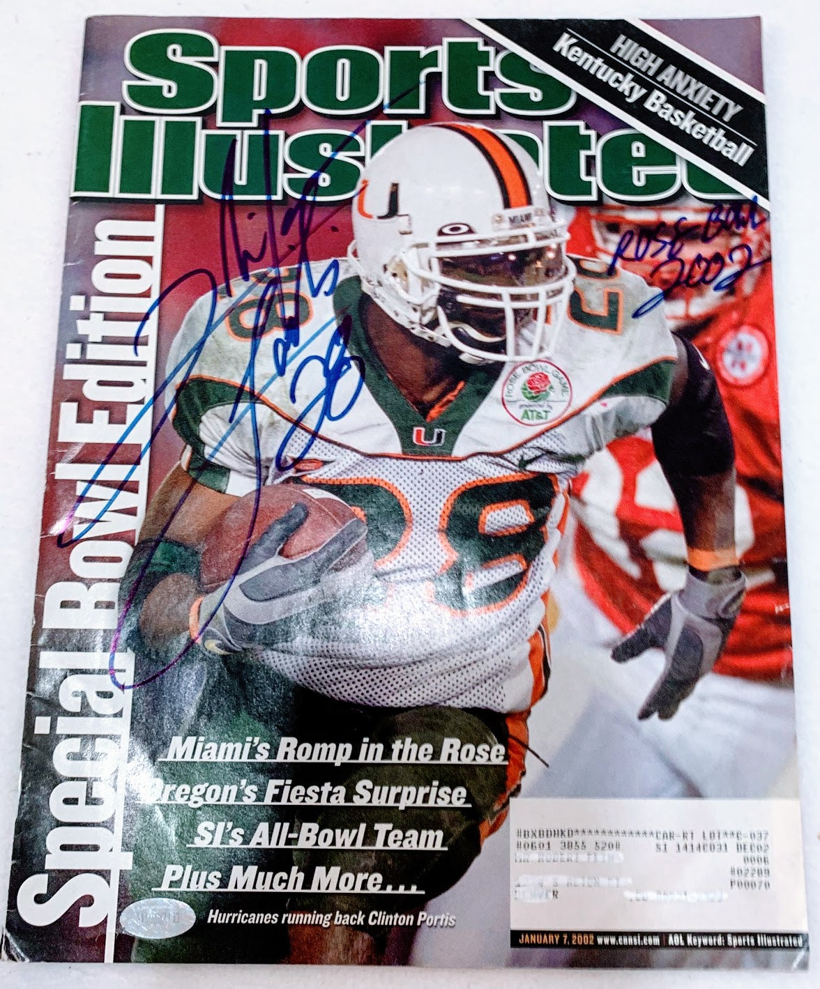 "Clinton Portis Signed 2002 Sports Illustrated Inscribed ""Rose Bowl 2002"" - Latitude Sports Marketing"