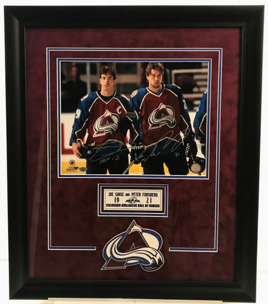 Joe Sakic & Peter Forsberg Dual Autographed 11x14 Photo with Deluxe Logo Nameplate - Latitude Sports Marketing