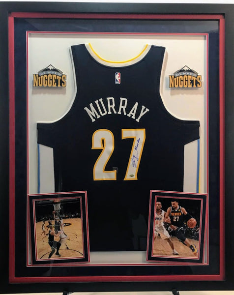 Jamal Murray Signed Jersey with Inscription - Deluxe Frame (2 Logos) - Latitude Sports Marketing