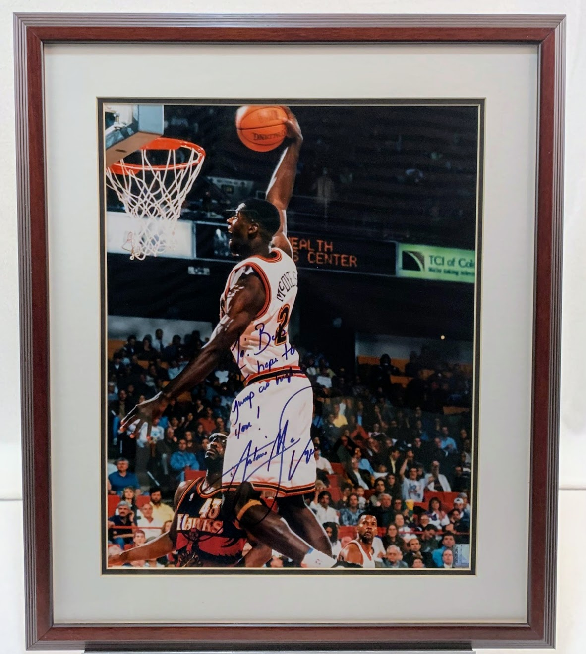 "Antonio McDyess Signed 16x20 Framed Photo with Inscription ""To Bob..."" LSM COA"