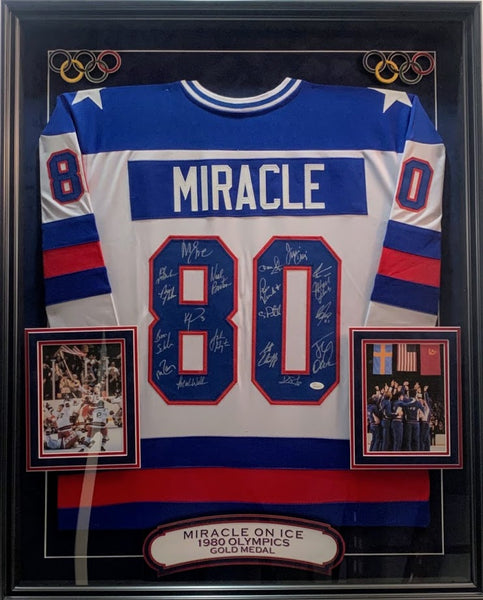 1980 Olympics Deluxe Framed Team Signed USA Hockey Jersey COA JSA LSM