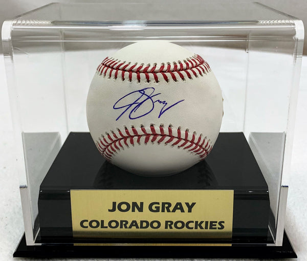 Jon Gray Signed MLB Baseball with Case