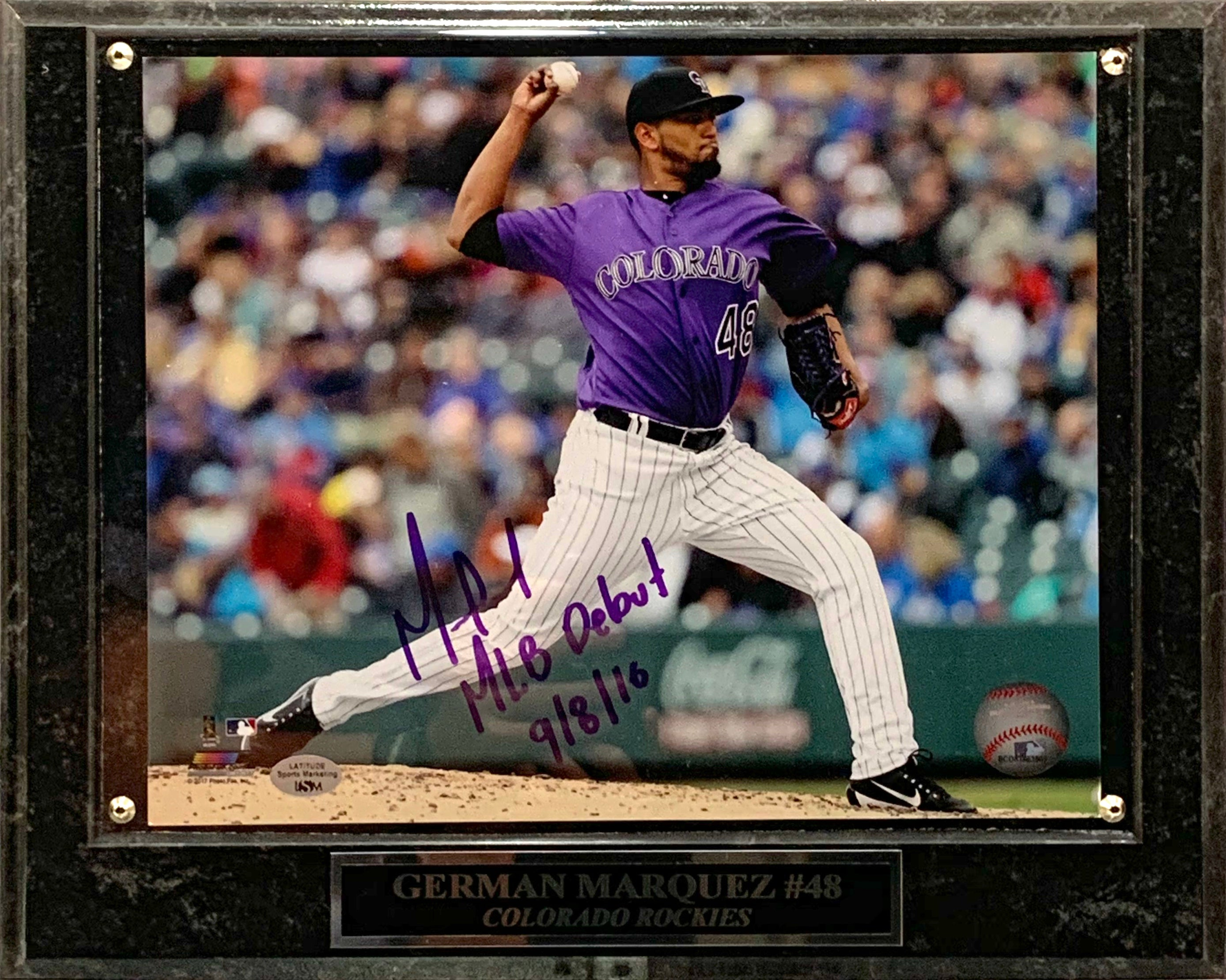 German Marquez Signed MLB Debut 9/8/16 8x10 with Plaque