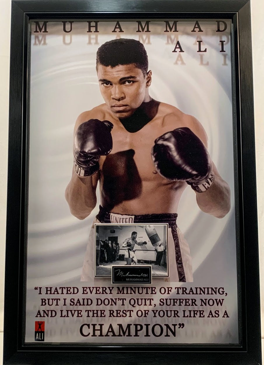 Muhammad Ali Laser Engraved Signature with Quote 23x34 Photo Framed