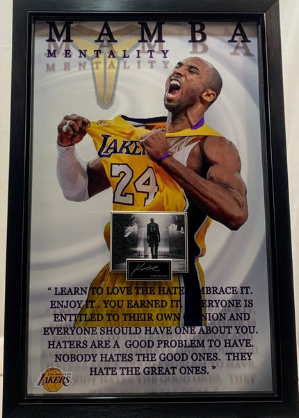 "Kobe Bryant ""Mamba Mentality"" 3D Photo Framed with Laser Engraved Signature and Quote"