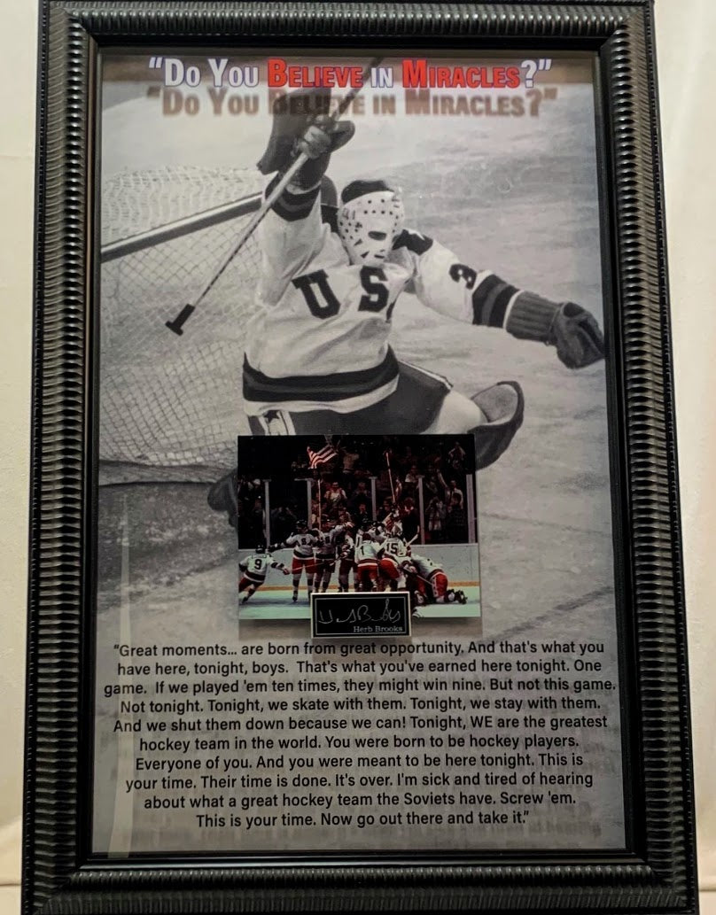 Miracle on Ice 1980 USA 3D Photo Framed with Laser Signature and Quote