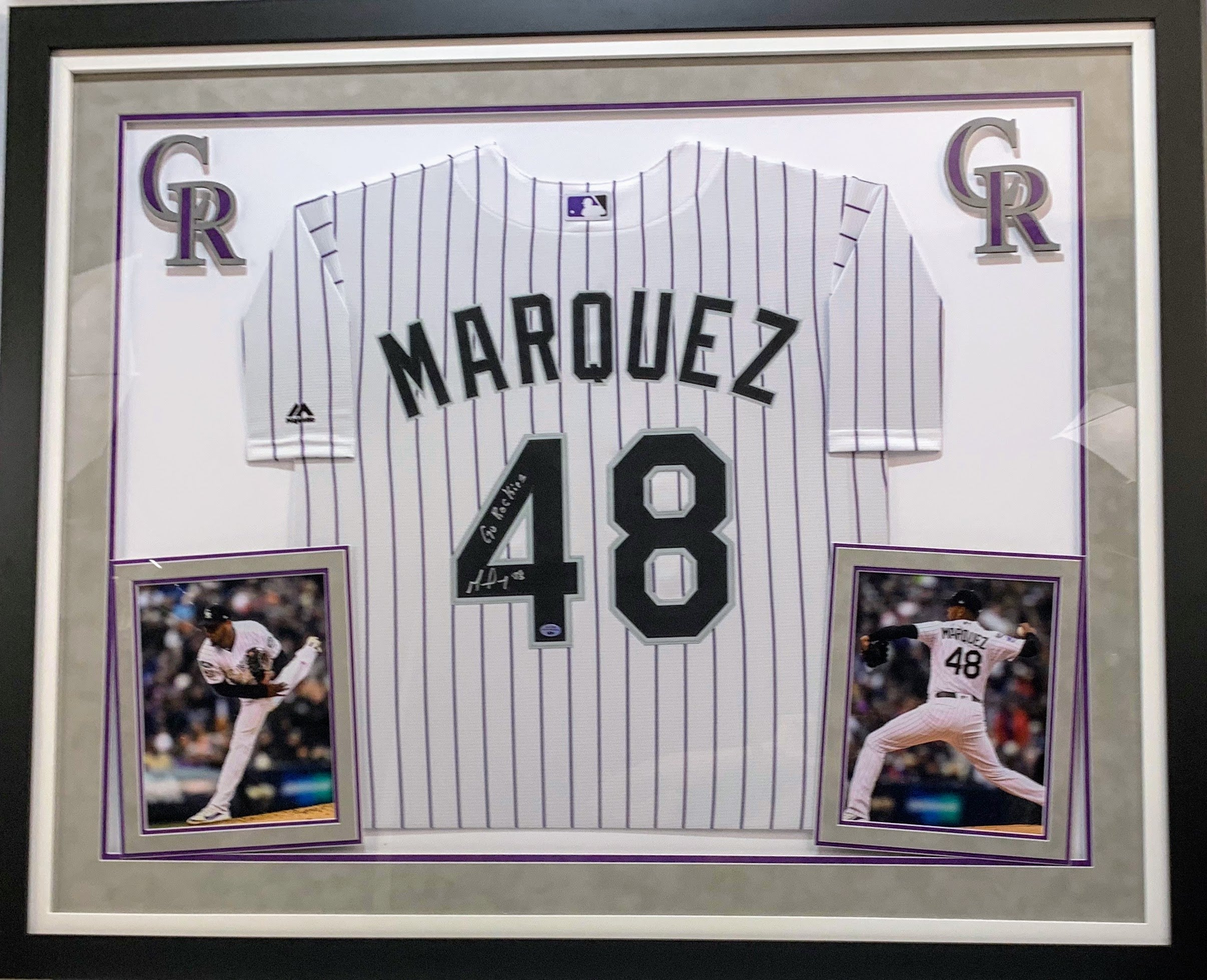 German Marquez Deluxe Framed Rockies White Replica Jersey - Latitude Sports Marketing