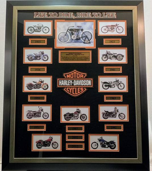 Harley Davidson Motorcycle Collage Framed