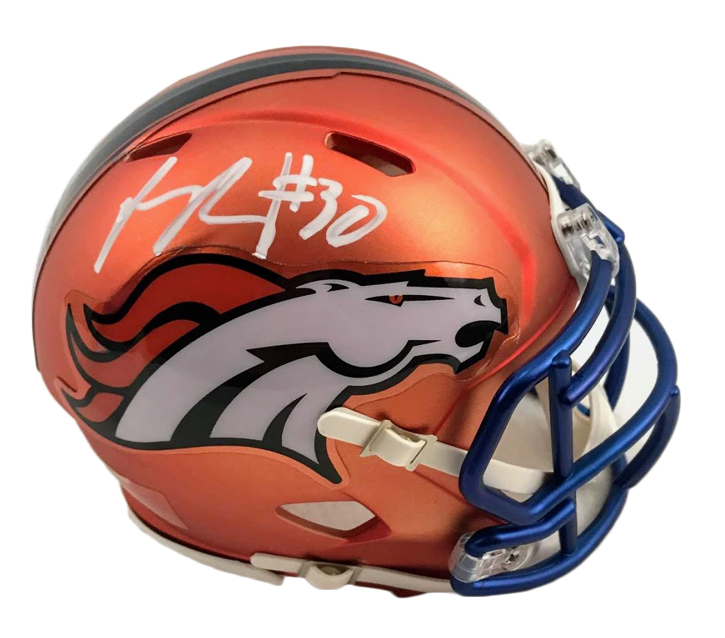 Phillip Lindsay Denver Broncos Blaze Mini Helmet - Latitude Sports Marketing