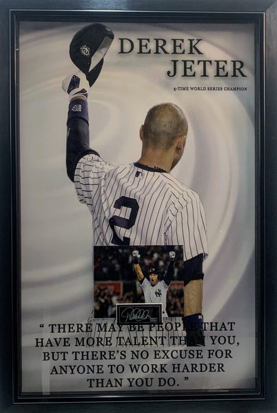 Derek Jeter Laser Engraved Signature Framed Piece with Photo and Quote
