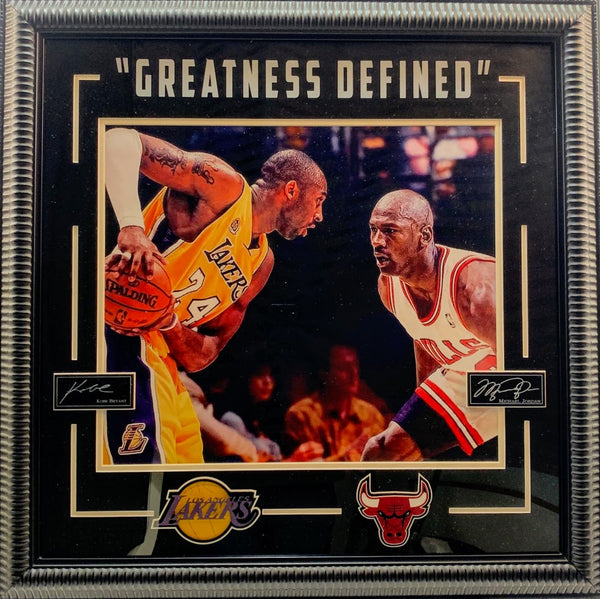 "Kobe Bryant & Michael Jordan ""Greatness Defined"" Framed Photo with Laser Signatures"