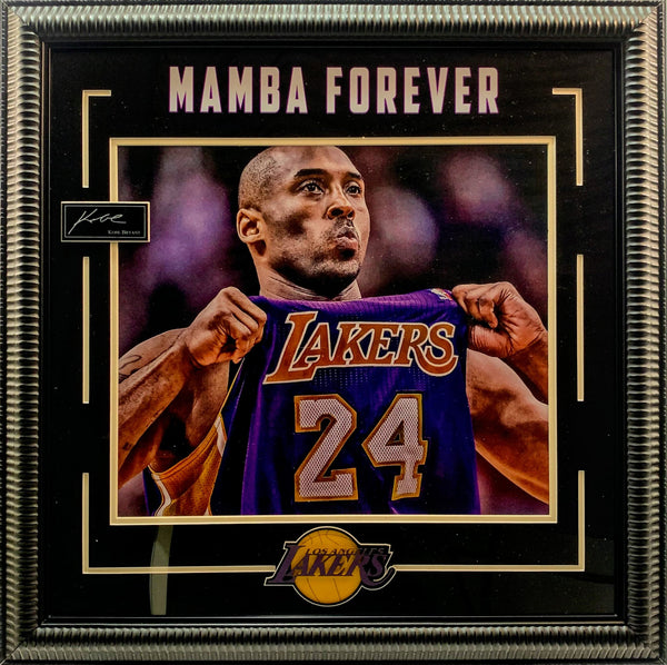 "Kobe Bryant ""Mamba Forever"" Framed Photo with Laser Signature and Quote New"