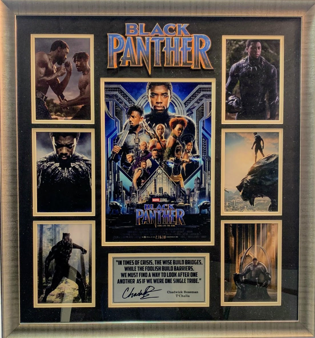 Black Panther Chadwick Boseman Framed College with Laser Signature and Quote