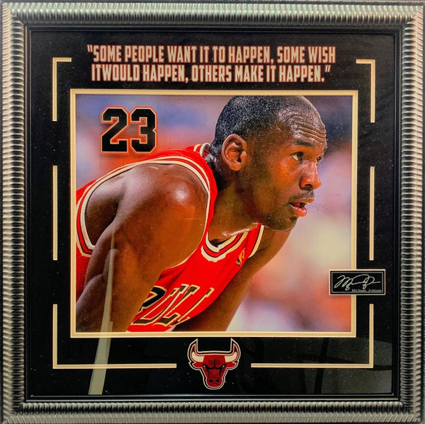 Michael Jordan Framed Photo with Laser Engraved Signature and Quote
