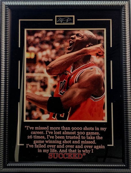 Michael Jordan SUCCEED Framed Photo with Laser Engraved Signature and Quote