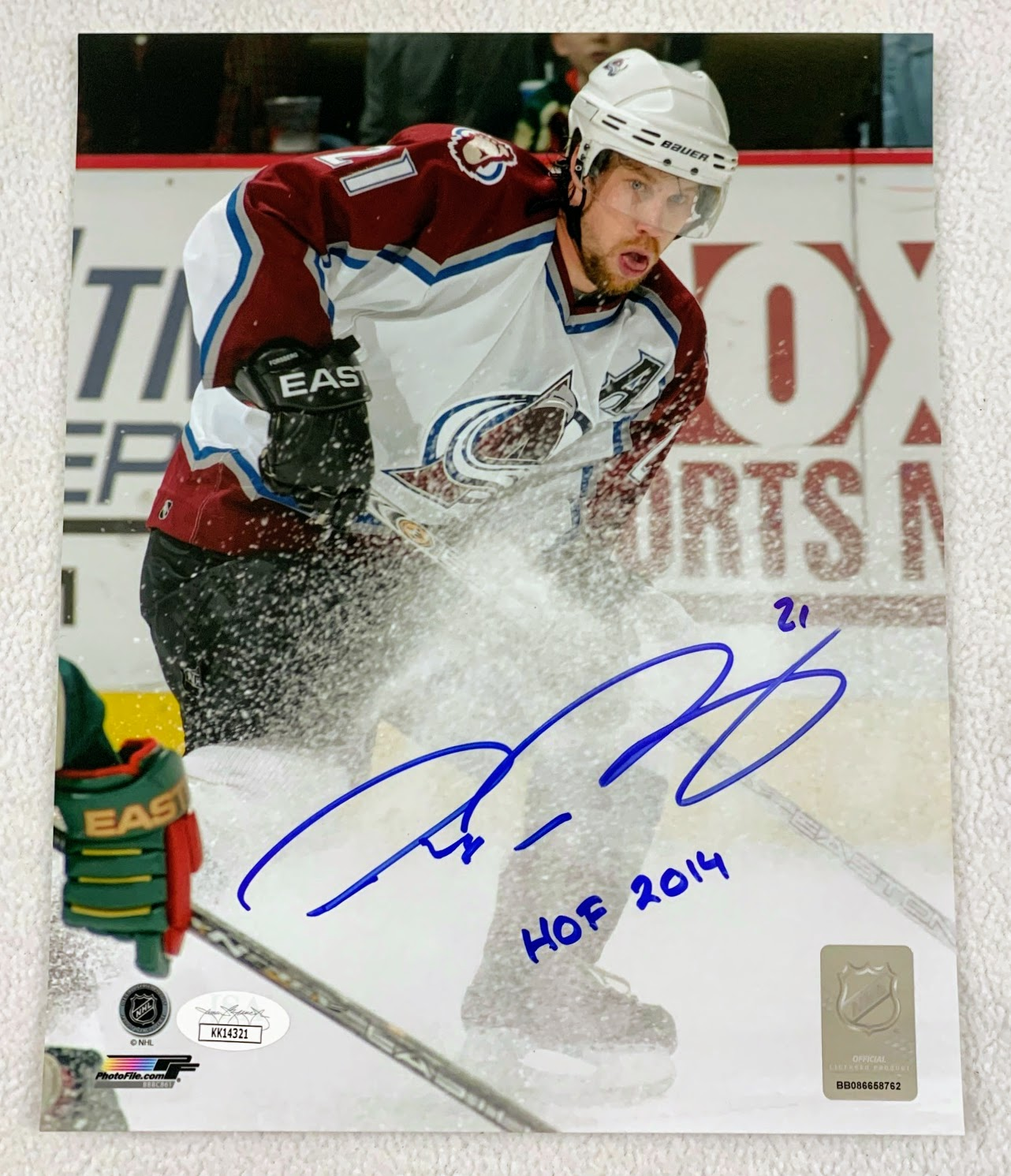 "Peter Forsberg Autographed 8x10 Inscribed ""HOF"" Photo Colorado Avalanche LSM JSA COA"