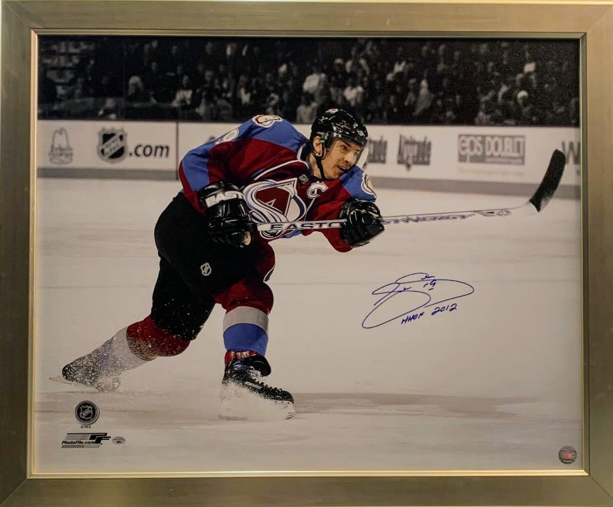 Joe Sakic Signed and Inscribed Canvas, Framed LSM COA