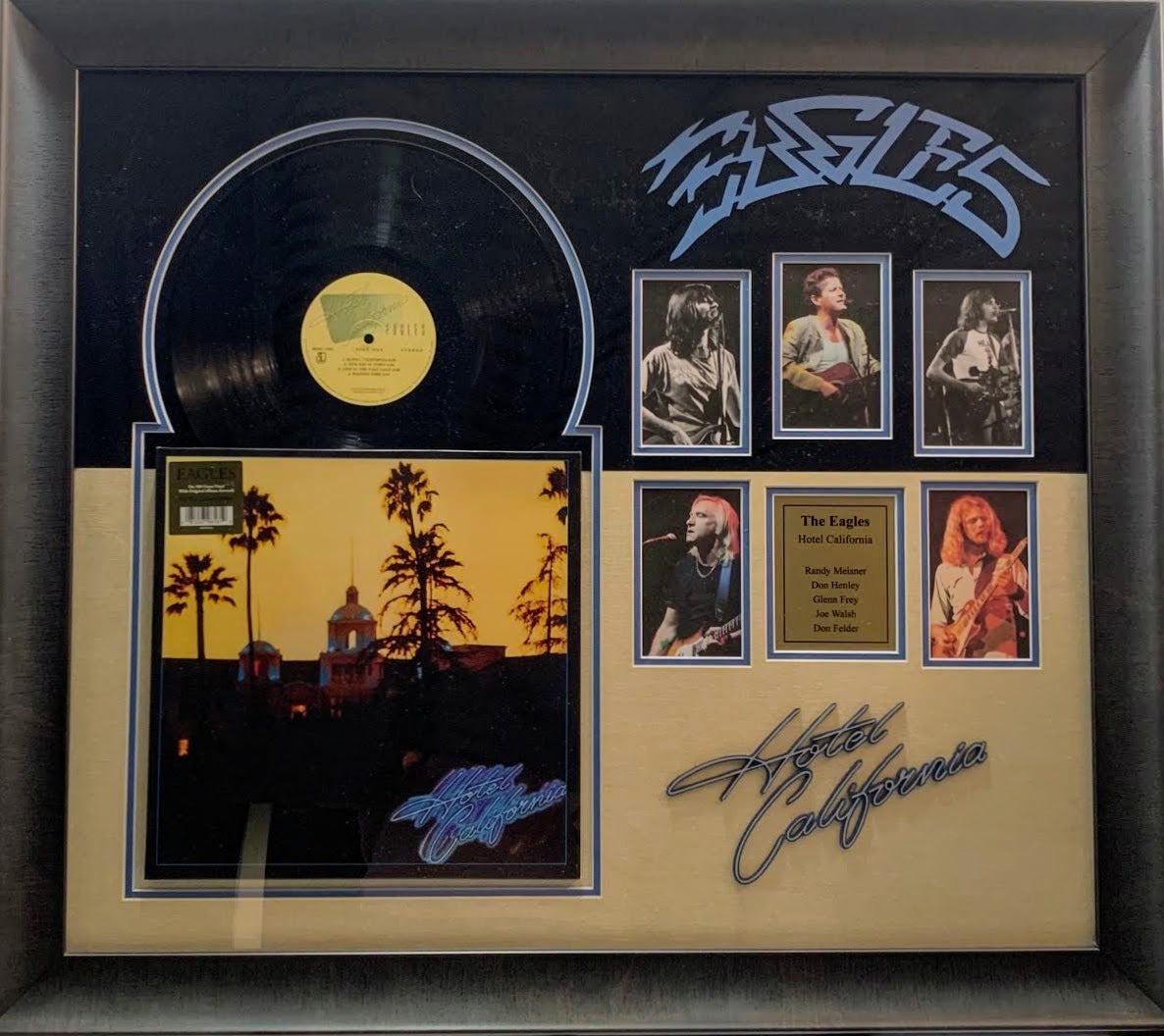 The Eagles Hotel California Record Album Framed with Photos of Band Members