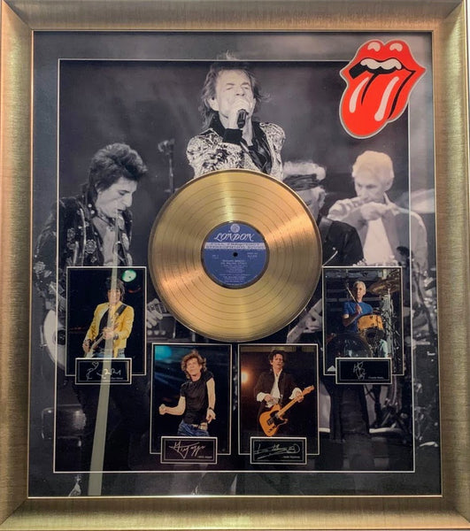 Rolling Stones  framed photo collage with an album and laser signatures framed