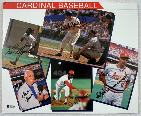 St. Louis Cardinals Hall of Famers Multi-Signed Photograph Collage LSM BECKETT COA