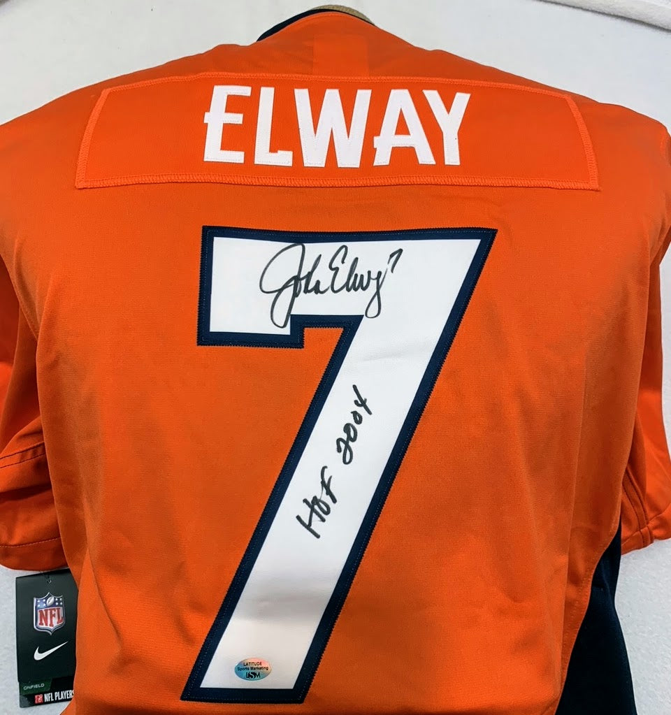 John Elway Autographed Nike Denver Broncos Jersey with Inscription LSM COA