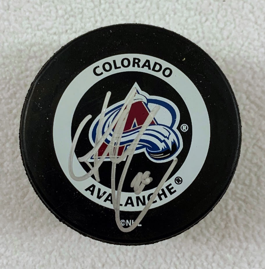 Stephane Yelle Autographed Colorado Avalanche Game Official Puck LSM COA