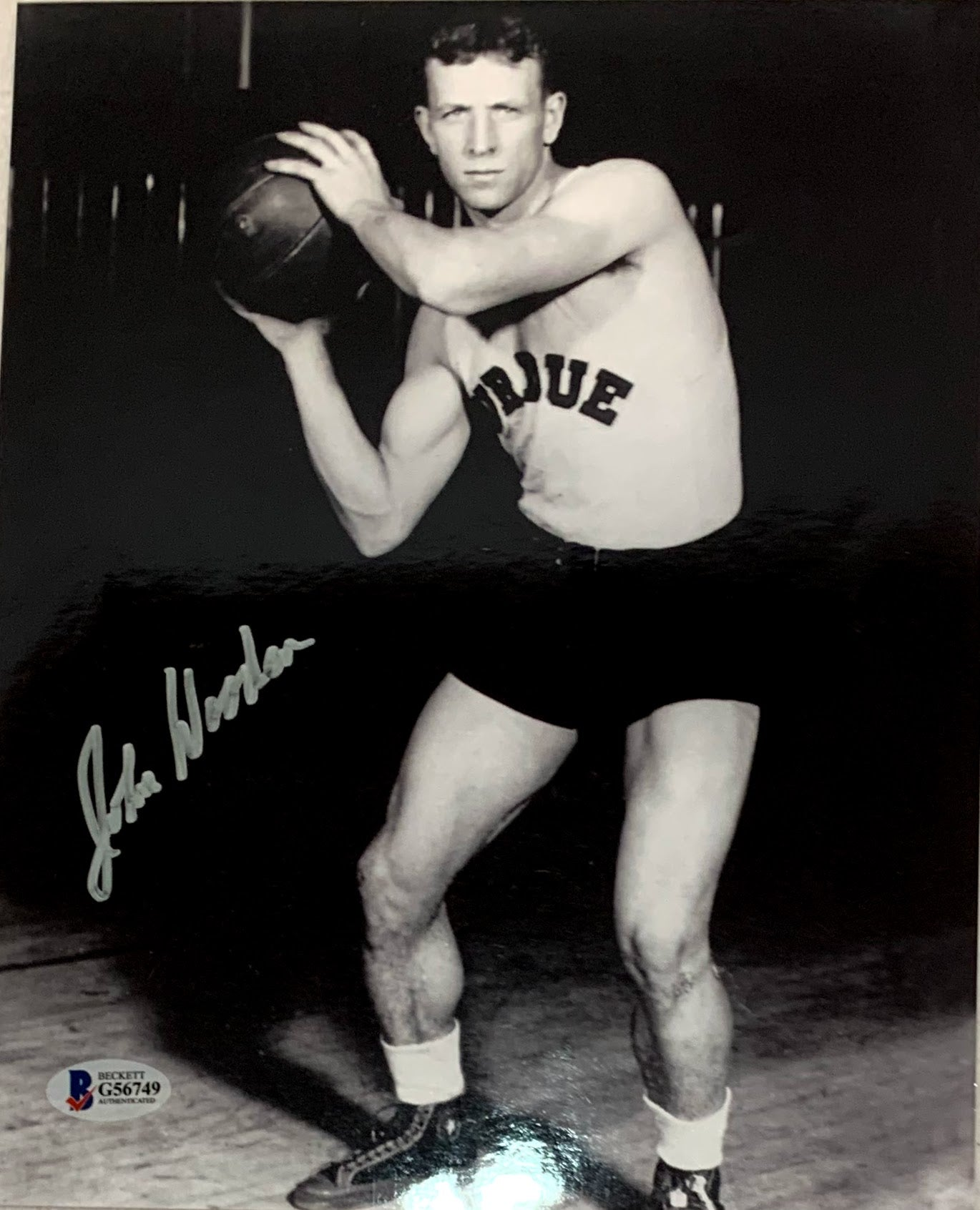 John Wooden Autographed Purdue 8x10 Photo - Latitude Sports Marketing