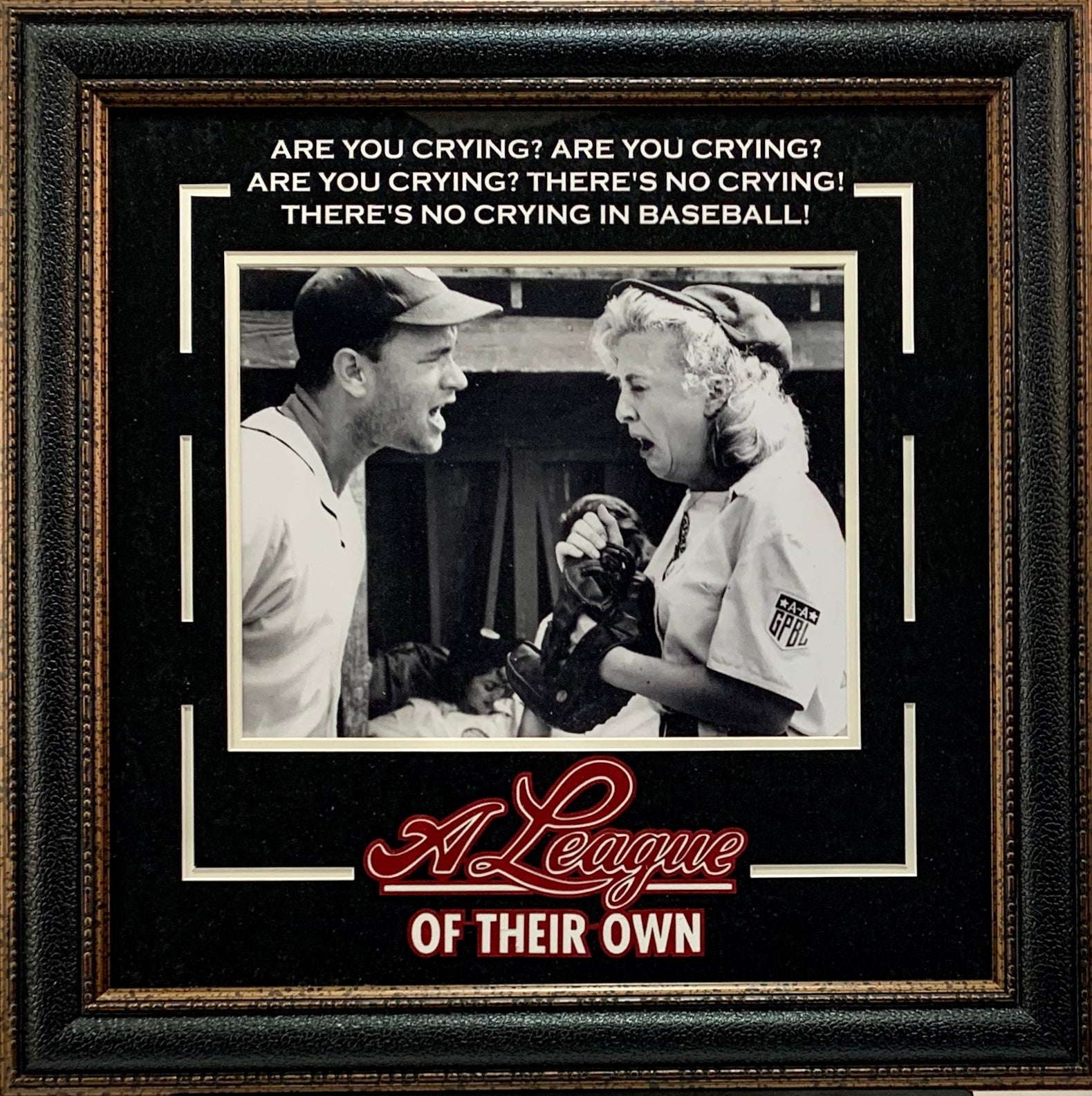 A League of Their Own - Tom Hanks Framed Photo w/Logo - Latitude Sports Marketing